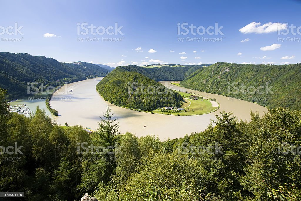 Curve of Danube river near Shloegen, Austria royalty-free stock photo