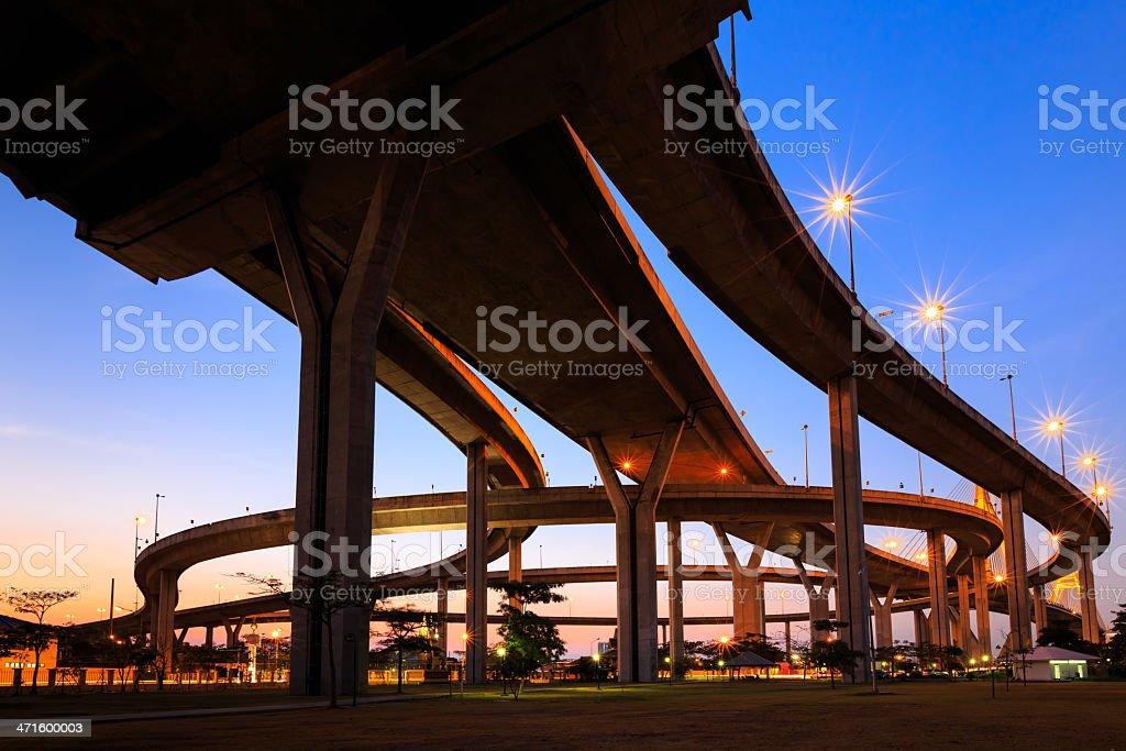 Curve of expressway in Bangkok at twilight stock photo