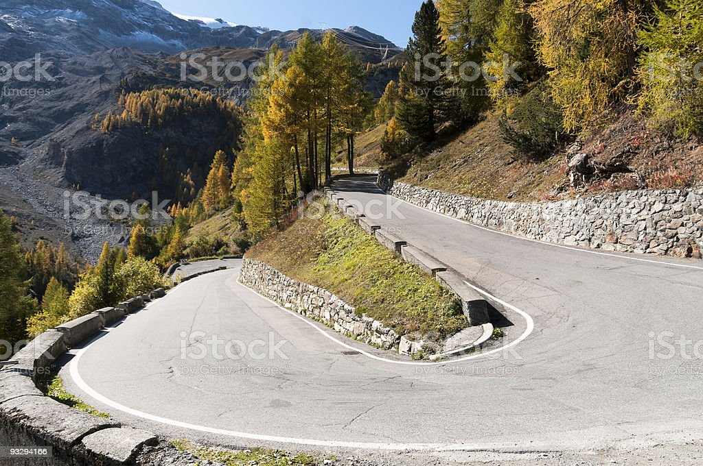 Curve of Stelvio Pass Road royalty-free stock photo
