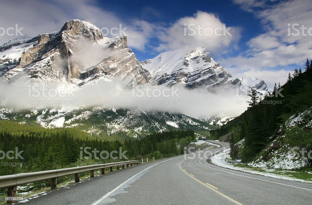 Curve on Mountain Road in Winter stock photo