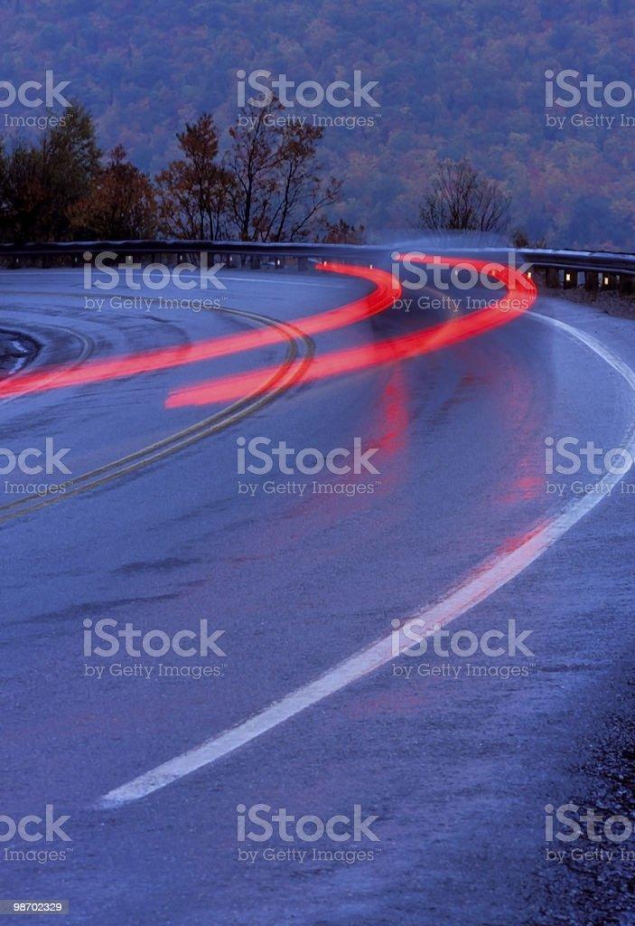 curve on rainy night royalty-free stock photo