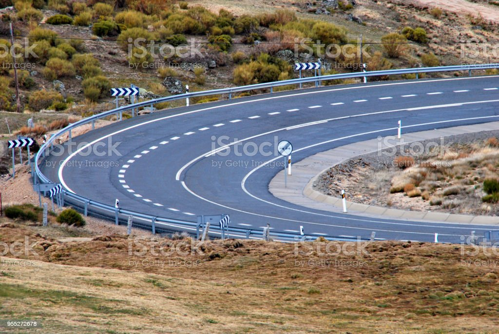 Curve on the road stock photo