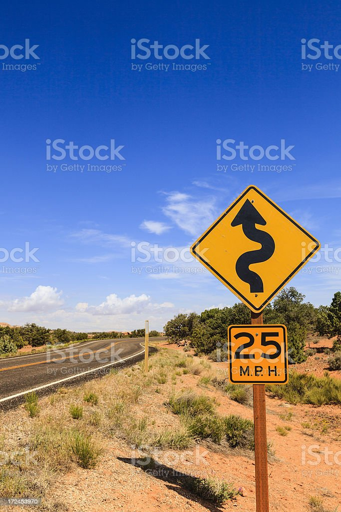 Curve or obstacle ahead royalty-free stock photo