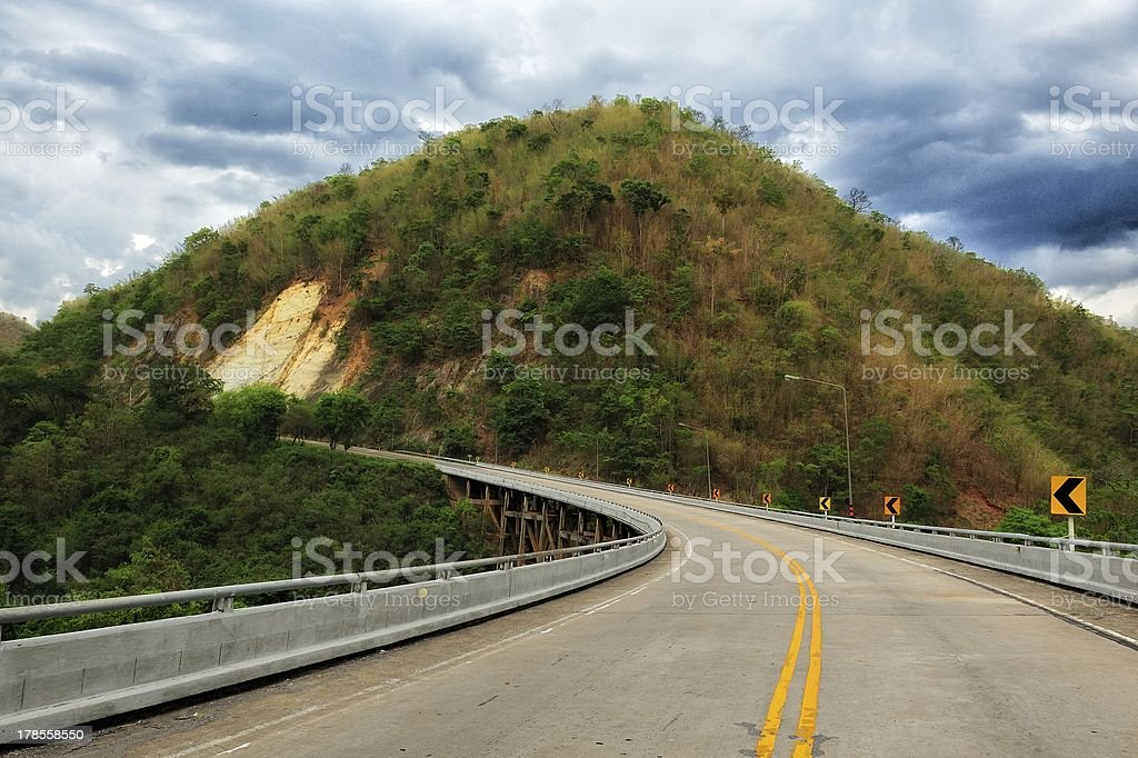 Curve road mountain in dark royalty-free stock photo
