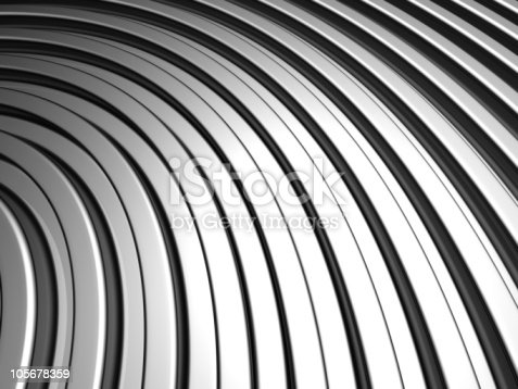 istock Curve shape silver aluminium stripe background 105678359