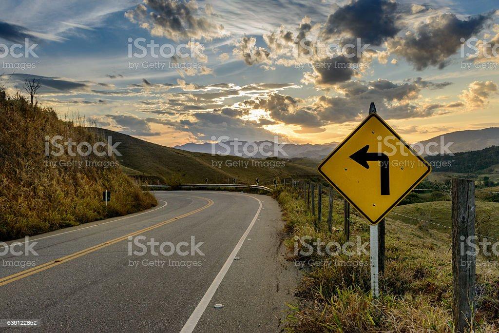 Curve sign Road RJ-143 to Conservatoria, Rio de Janeiro State stock photo