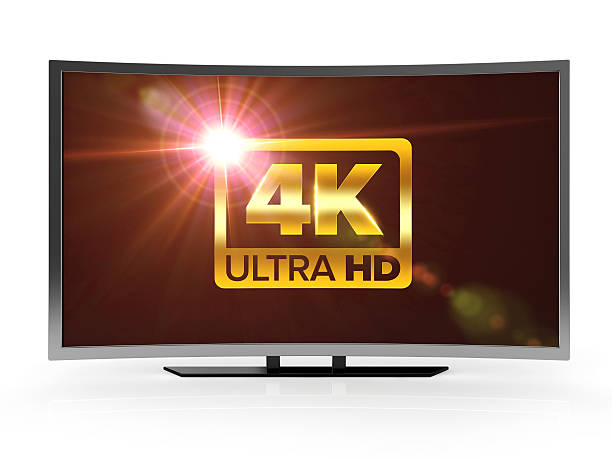 curved 4K ultra high definition led tv curved 4K ultra high definition led tv isolated white background with clipping path ultra high definition television stock pictures, royalty-free photos & images