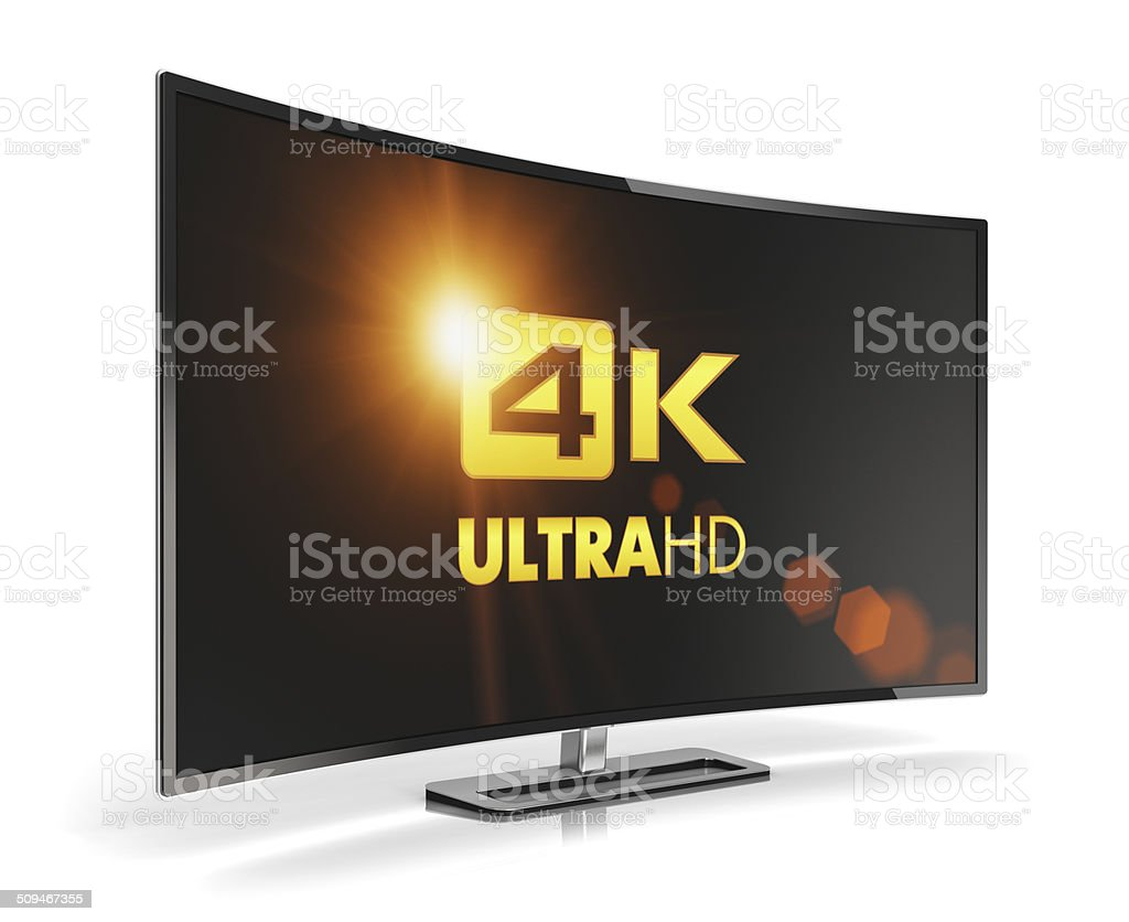Curved 4K UltraHD TV stock photo