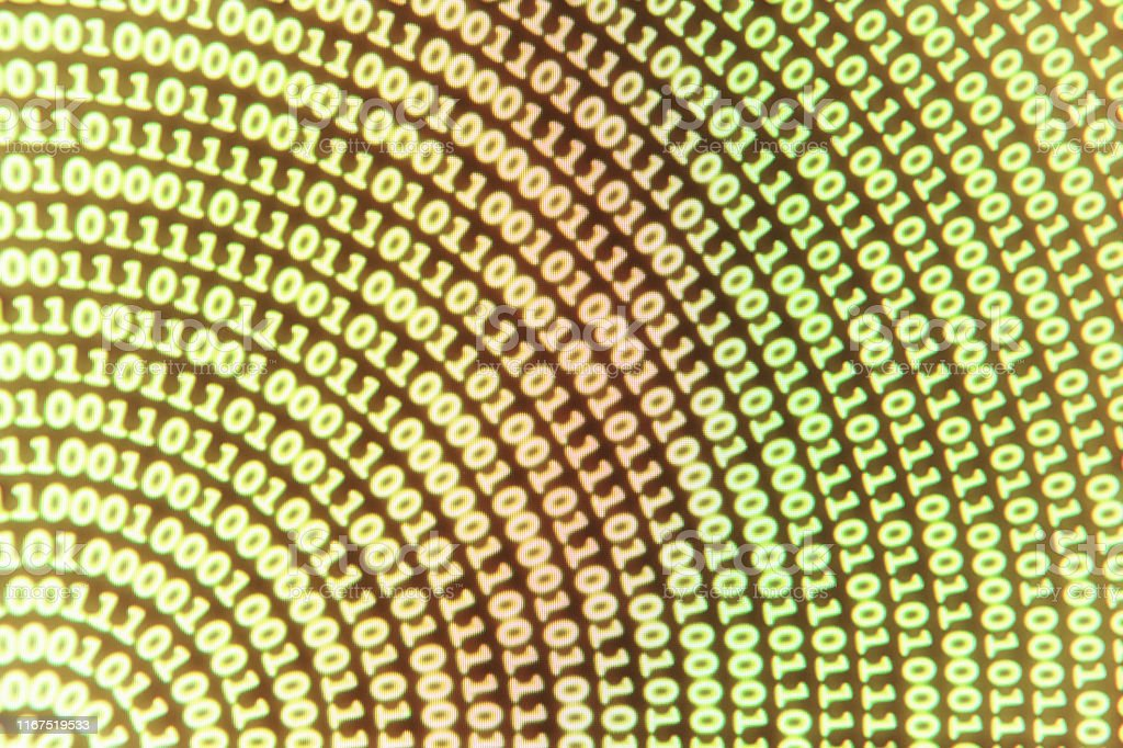 Binary code fills the screen in a curved arc making a quarter circle...