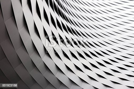 istock Curved and rippled metal roof construction 531923158