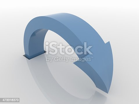 838721578 istock photo Curved Blue Arrow Symbol, Action Concept 473318370