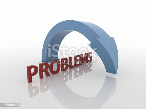 istock Curved Blue Arrow Symbol Over Problems, Solution Concept 473596478