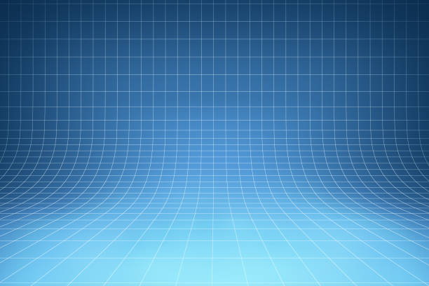 Curved blue background Smooth background with grid that curve upward for room interior blueprint stock pictures, royalty-free photos & images