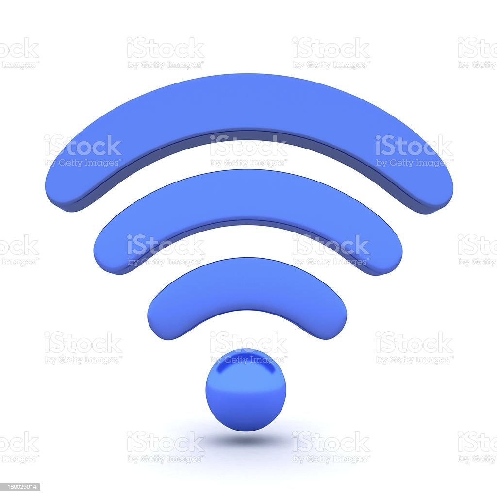 A curved blue Wi-Fi icon on a white background stock photo