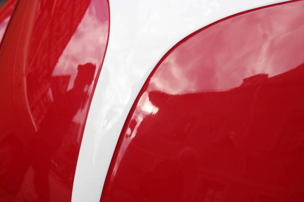 curved car forms, glossy paint curved car form in red and white color, glossy automotive paint lacquered stock pictures, royalty-free photos & images