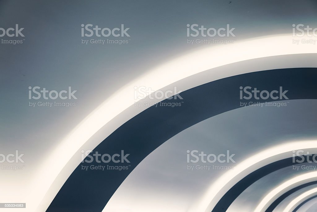 Curved ceiling detail stock photo
