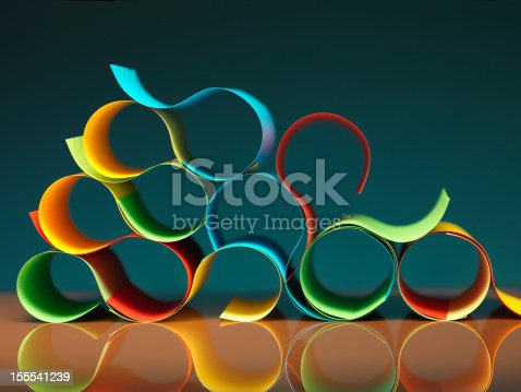 istock curved, colorful sheets of paper with reflexions 155541239