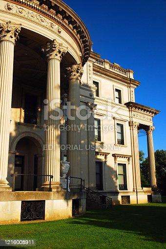 Hyde Park, NY, USA September 4, 2009 A columned portico wraps around the  the Vanderbilt mansion in Hyde Park, New York