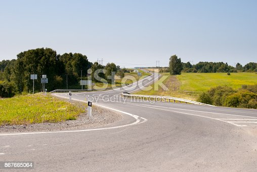 curved country asphalt road