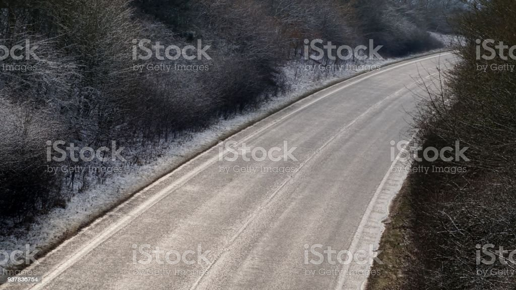Curved Country Road from Above. stock photo