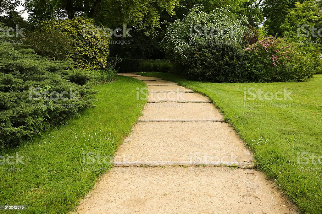 Curved garden path surrounded by lush foliage stock photo