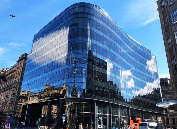 Curved glass building Glasgow stock photo
