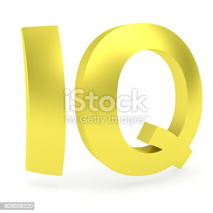 istock Curved golden IQ sign 809558220