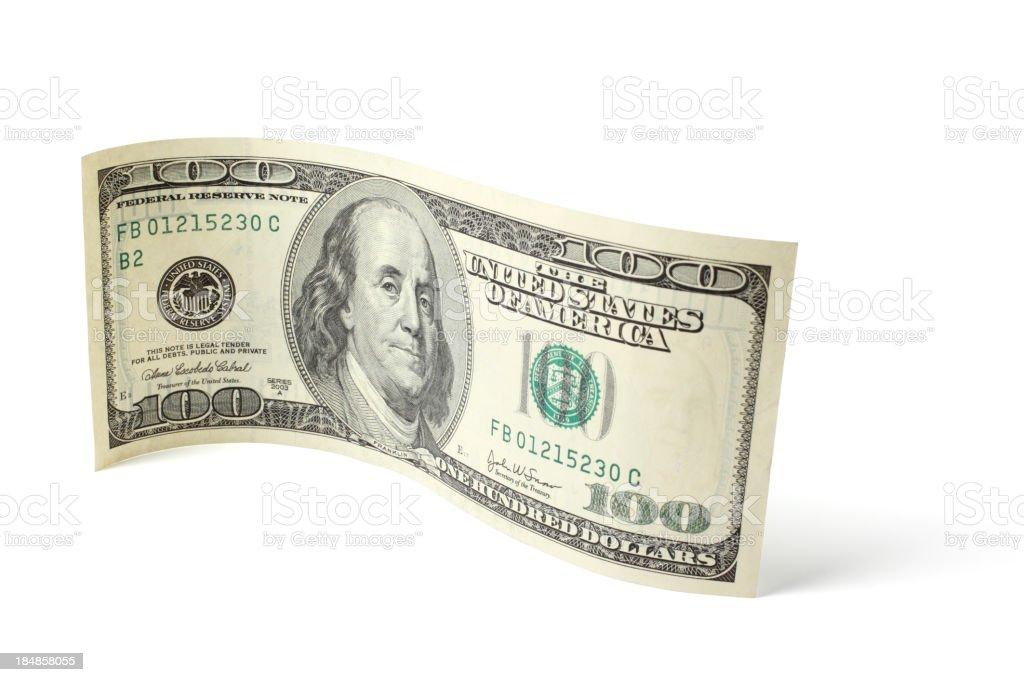 Curved Hundred Dollar Bill stock photo