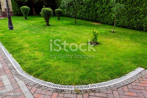 curved iron grid drainage system in the backyard by the green lawn with tree and footpath of red paving slabs.