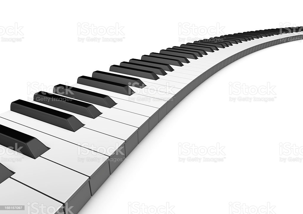 Curved keyboard piano stock photo