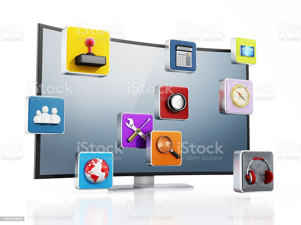 Curved modern smart tv with applications stock photo