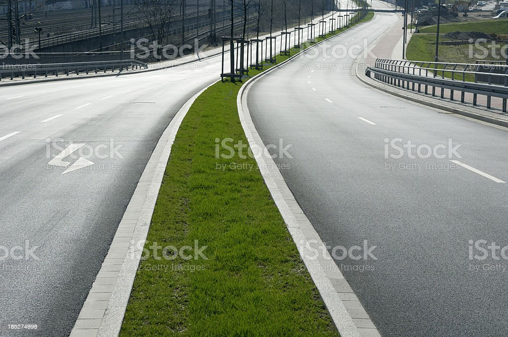 Curved new road stock photo