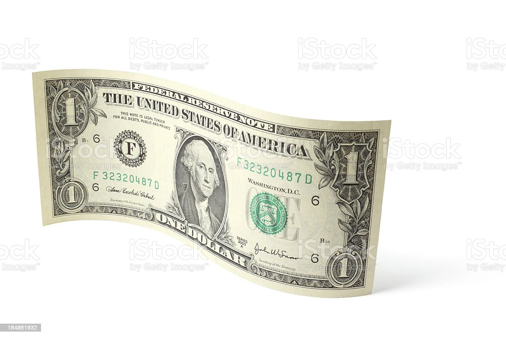 Curved One Dollar Bill stock photo