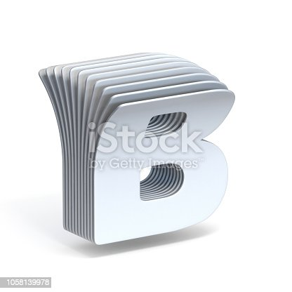 845304606 istock photo Curved paper sheets Letter B 3D 1058139978