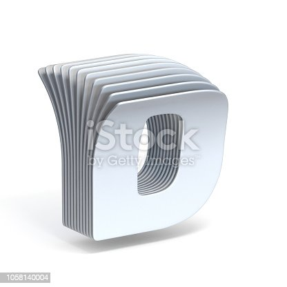 583978154 istock photo Curved paper sheets Letter D 3D 1058140004