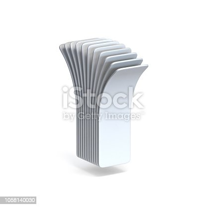 583978326 istock photo Curved paper sheets Letter I 3D 1058140030