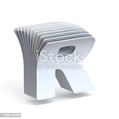 583978558istockphoto Curved paper sheets Letter R 3D 1058140260