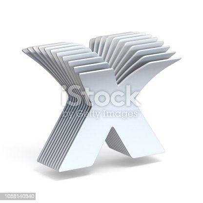 848178088istockphoto Curved paper sheets Letter X 3D 1058140340