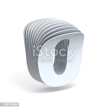 845307368 istock photo Curved paper sheets Number 0 ZERO 3D 1058139934