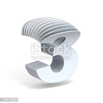 istock Curved paper sheets Number 3 THREE 3D 1058139930