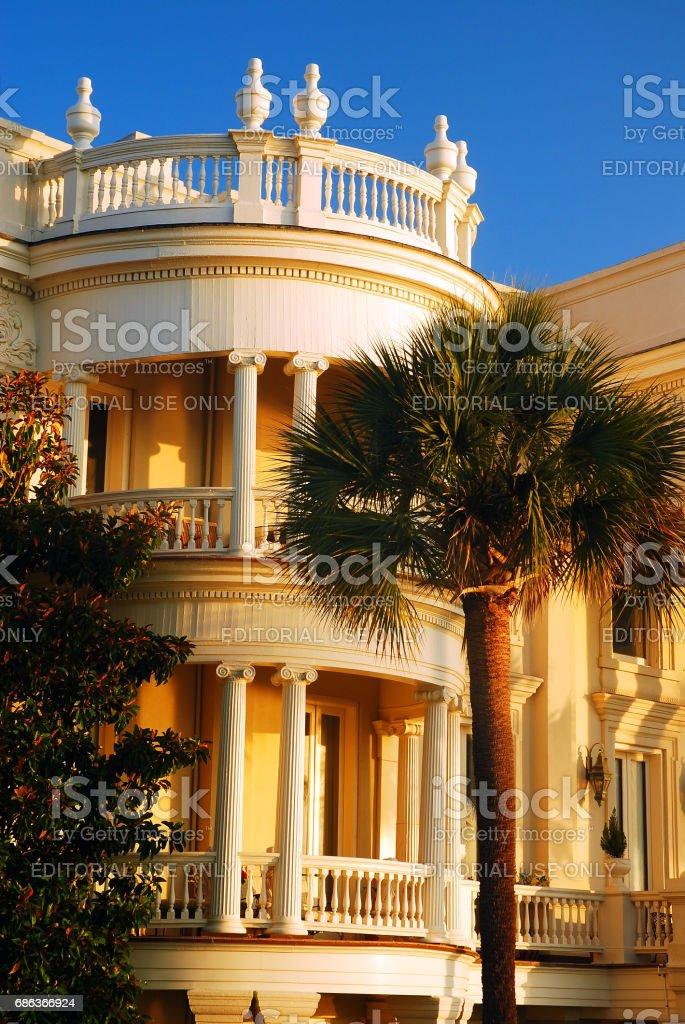 Charleston, SC, USAS June 23, 2010 the Curved Porch on Antebellum...