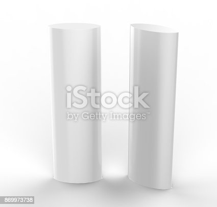 869974364 istock photo Curved PVC totem poster light advertising display stand. 3d render illustration. 869973738