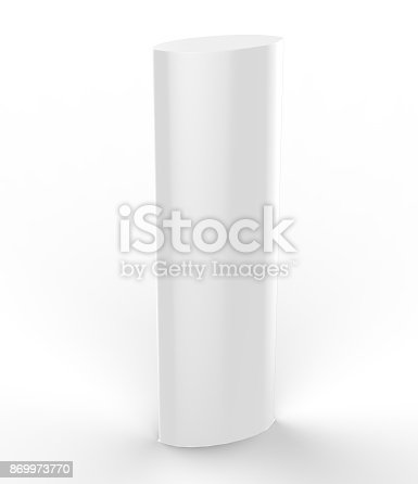 869974364 istock photo Curved PVC totem poster light advertising display stand. 3d render illustration. 869973770
