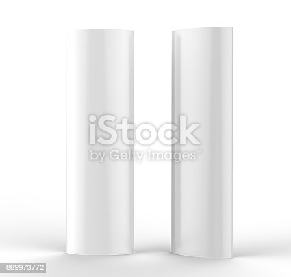 869974364 istock photo Curved PVC totem poster light advertising display stand. 3d render illustration. 869973772