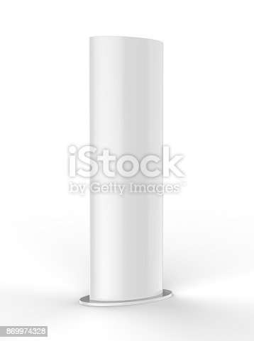 869974364 istock photo Curved PVC totem poster light advertising display stand. 3d render illustration. 869974328