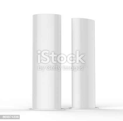869974364 istock photo Curved PVC totem poster light advertising display stand. 3d render illustration. 869974336