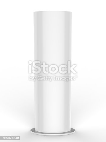 869974364 istock photo Curved PVC totem poster light advertising display stand. 3d render illustration. 869974348