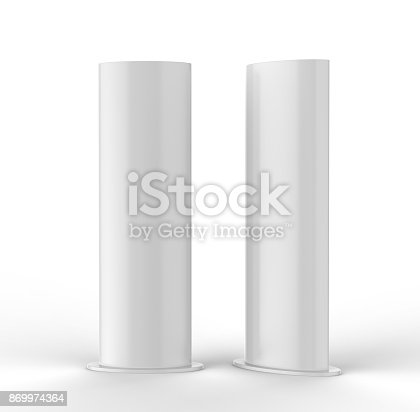 869974364 istock photo Curved PVC totem poster light advertising display stand. 3d render illustration. 869974364