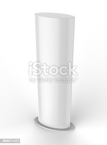 istock Curved PVC totem poster light advertising display stand. 3d render illustration. 869974422