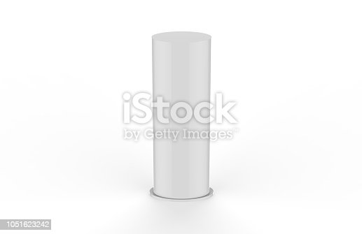869974364 istock photo Curved PVC totem poster light advertising display stand, mock up template on isolated white background, 3d illustration 1051623242